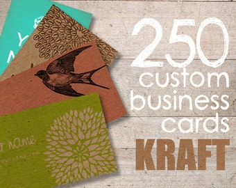 250 Kraft Business Cards - Display Cards - Earring Cards - Eco Cards - Recycled Business Cards - KRAFT PAPER