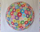 Modern Geometric Wall hanging quilt pattern- optical illusion quilt design- Hexagon Flower quilt design-Applique floral quilt