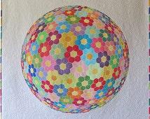 Modern Geoemtric Wall hanging quilt pattern- optical illusion quilt design- Hexagon Flower quilt design-Applique floral quilt