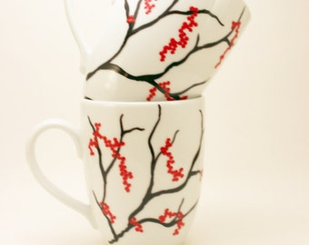 Red berries holiday mugs - hand painted coffee mugs with winter berries - set of 2