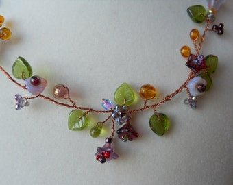 "Flower necklace and earrings , handmade with Czech glass flowers and leaves,copper wire ""vine"",amber,topaz,"