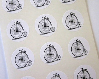 Penny Farthing Bicycle Stickers One Inch Round Seals