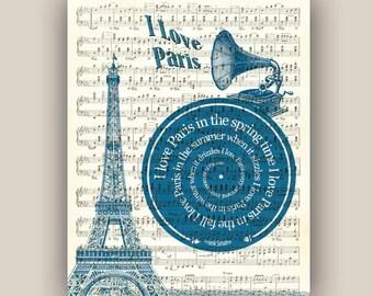 Paris Print, I love Paris Song, Frank Sinatra, Eiffel tower, vinyl record, spiral lyrics, sheet music reproduction, musical Paris poster