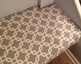 "Mudroom Bench Cushion with Notched Corner,Custom,69.25"" x 18.5"" x 3"", Includes Double Piping and Zipper. Made to Order."