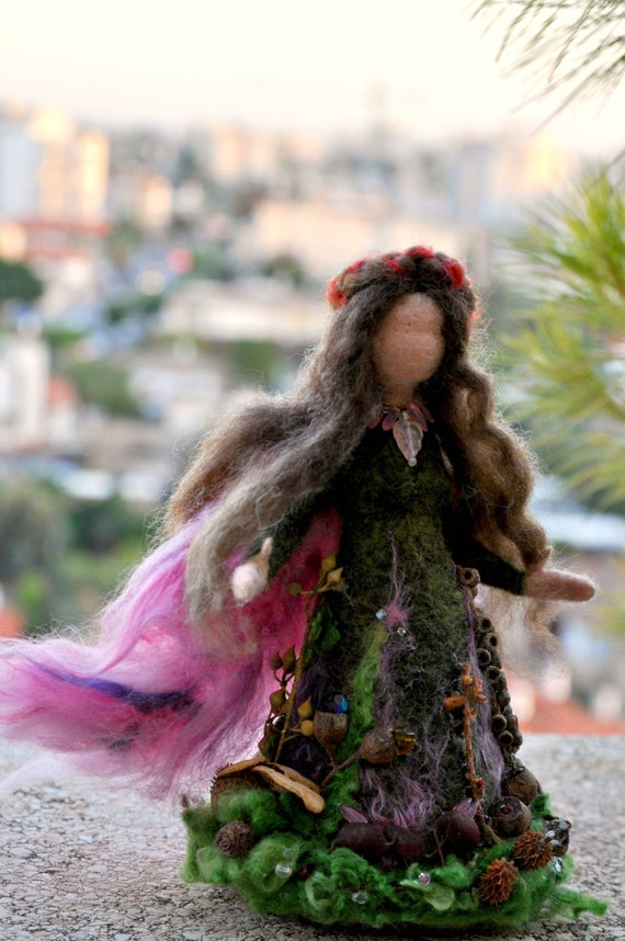 Needle felted Waldorf Love Forest Maiden- soft sculpture -needle felt by Daria Lvovsky-READY to ship