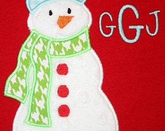186 Toboggan Snowman Machine Embroidery Applique Design