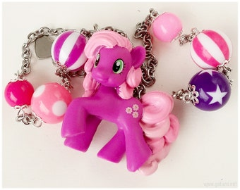 My Little Pony, Cheerilee Necklace, Beaded Stainless Steel Chain, Magenta and Pink - MLP, Miniature Figure