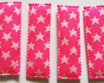25  pcs - Cute Star Printed Rectangular Hair Clip COVERS -    size 55 mm Pink