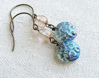 Etched Glass Earrings Beaded Earrings Glass Beads Blue Pale Pink Minimalist Dangles Simple Czech Glass