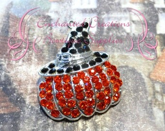 "1 1/2"" Orange Rhinestone Pumpkin Pendant With Witch Hat, Halloween"