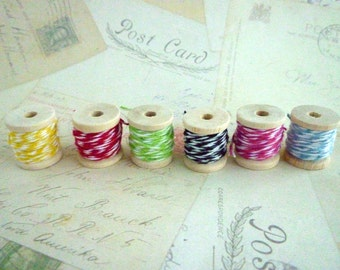 Bakers Twine on Wooden Spools - 3m each - 4ply - Set of 6 colours