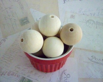 Large Round Wooden Beads - Natural - 35mm - Pack of 10
