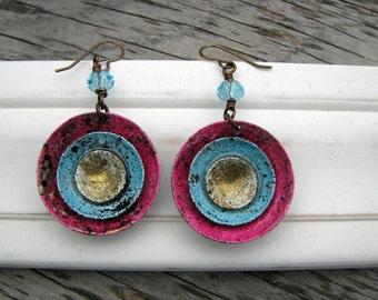 Wham...Artisan Dangle Earrings, Pink and Turquoise as Seen in Jewelry Affaire