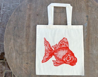 Goldfish Hipster Tote Bag Natural Off White Tote with red-orange Print