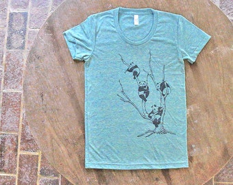 Pandas in a Tree T-shirt American Apparel Women's Tri Blend Tee in Teal, Mint Green color