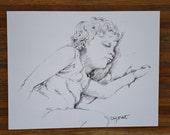 Original Art,  Mixed Media drawing, gift, home decor, portrait, girl sleeping,