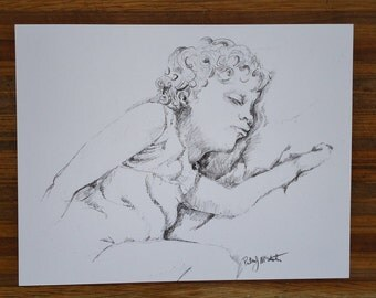 Portrait of girl sleeping,  Mixed Media drawing, original art, gift, home decor