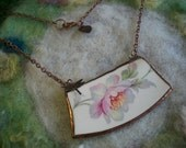 Broken China Necklace with Handmade Bezel and Copper Chain, White Wild Rose