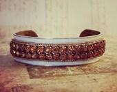 Rhinestone Cuff Bracelet -- Painted Creamy White Boho Chic Style -- Vintage Wedding Jewelry