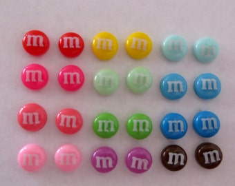 Magnetic M Candy Chocolate Earrings Tiny 7mm Clip on non pierced ears