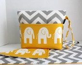 Large Zippered Diaper Clutch and Changing Mat Travel Set - Attach to Stroller - Grey Chevron Yellow Elephants