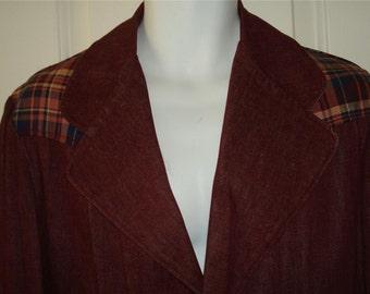 Vintage LANDLUBBER jean jacket blazer denim burgundy plaid mod 70's crest button