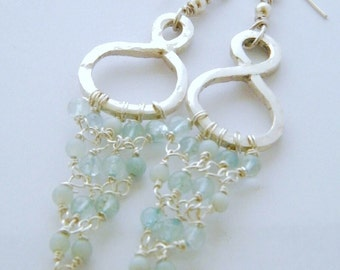 Aquamarine 925 Sterling Silver Hoop Chandelier Earrings - HALLMARKED