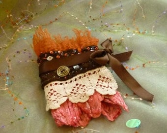 Vintage Fabric Cuff, Fabric Accessory, Beaded Cuff, Bracelet
