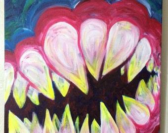 "TEETH large colorful original acrylic painting 16""x20"""
