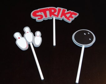 Bowling Cupcake Toppers - Birthday Party Decorations, Birthday Party Supplies