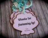 Mermaid inspired SEASHELL thank you tags.....set of 5