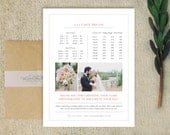 Sale! Pricing Guide Template for Photographers - Magazine Style Price List - Wedding Photography Pricing Template - m0085