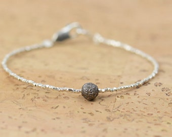 Diamond ball bracelet , sterling silver beaded