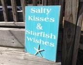 Beach Sign Salty kisses & Starfish Wishes Nursery Beach Cottage Decor