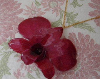 REAL Orchid Flower Pendant - Fuchsia Pink Orchid Necklace - Simple Gold chain - Choose chain length