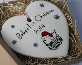 Baby's 1st Christmas Ornament - baby bird in nest and the year 2017