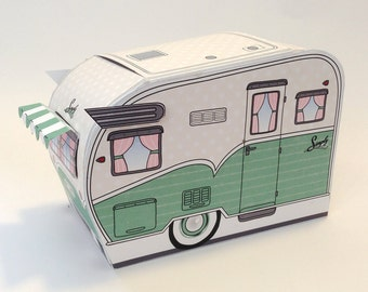 1950s RV Camper Trailer box, Caravan Box, cupcake box, gift card box, gift favor box - Green - Insatn Download D.I.Y. Printable PDF Ki