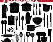 Buy 2, Get 1 FREE - Kitchen Silhouettes Clipart - Digital Kitchen Silhouette Clipart - Instant Download
