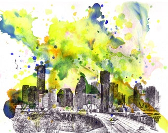 Houston Texas Cityscape Skyline Abstract Landscape Art Print From Original Watercolor Painting 13 x 19 in Art Print