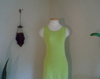 90s lime green maxi dress small medium