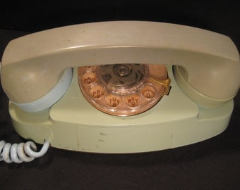 Retro Aqua Green Vintage Princess Phone Rotary Dial Desk Telephone, 1960s, TheRetroLife