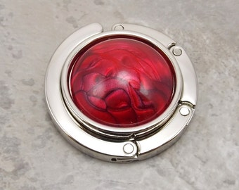 Folding Purse Hanger - Ruby Red Swirl