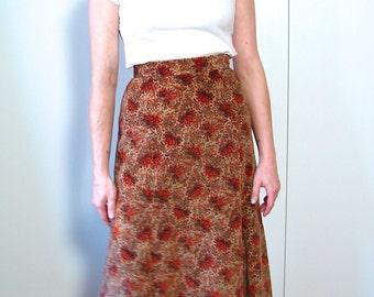 Vintage 1960s Velvet Maxi Skirt - 60s 70s Boho Floral Print Maxi Skirt Autumn Colours Sm - on sale