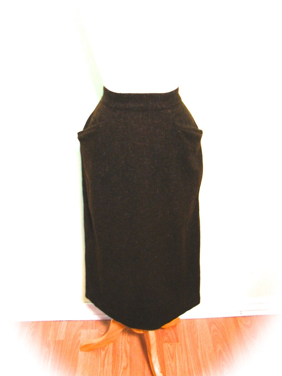vintage 40s 50s skirt chocolate flecked pencil skirt s by
