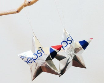 DIET Pepsi Stars Ornaments Soda Can Upcycled Repurposed Pepsi-cola