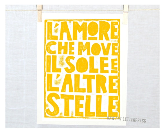 Wedding Gift Idea - Engagement - Anniversary Gift Idea - Italian - Love that moves the Sun and Other Stars - L' Amore Quote Dante Wall Art