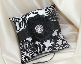 Black and White Damask Wedding Theme, Ring Bearer Pillow Choose Flower Color
