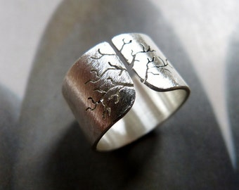 Sycamore tree ring, sanded Sterling silver ring, wide band ring, metalwork jewelry, graduation gift, gift for mother