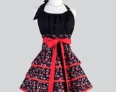 Flirty Chic Apron , Red and Black Hearts and Roses for Valentines Three Layer Skirt Cute Flirty Sexy Retro Womens Apron