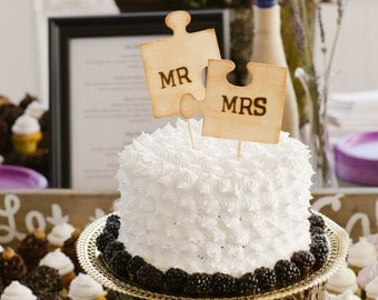 2 Mr Mrs PUZZLE PIECES Cupcake Picks /  Wood / Wedding Cake Topper / Rustic / Party Supplies Favors / Table Decor SALE (ref mrmrs)